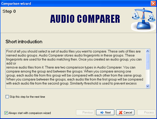 Audio Comparer - Comparison Wizard screenshot