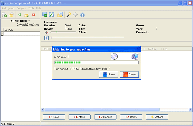 Audio Comparer Main Window